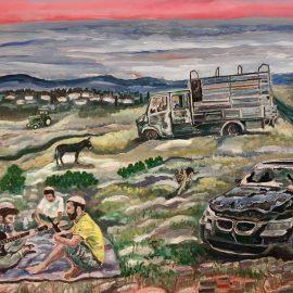"""לירון לופו, ״מתיישבים״, 60x80 ס""""מ, אקריליק על בד, 2012"""
