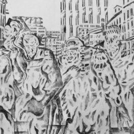 נועם עומר, ״כיכר העיר״, פחם על בד, 2016