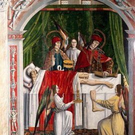 """A verger's dream: Saints Cosmas and Damian performing a miraculous cure by transplantation of a leg"". Oil painting attributed to the Master of Los Balbases, ca. 1495"