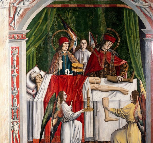 """""""A verger's dream: Saints Cosmas and Damian performing a miraculous cure by transplantation of a leg"""". Oil painting attributed to the Master of Los Balbases, ca. 1495"""