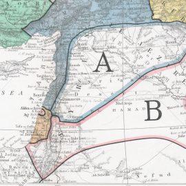 מפת המזרח התיכון על פי הסכם סייקס-פיקו, 1919