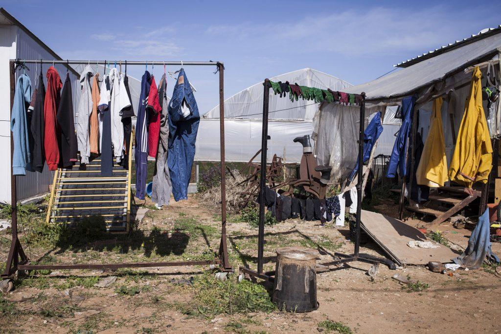 חצר מגוריהם של עובדים תאילנדים בכפר יעבץ, ינואר 2014 (שירז גרינבאום / אקטיבסטילס)