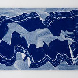 """מרים כבסה, עבודה מס. 7, צבעי שמן על אלומיניום, 75x150 ס""""מ, 2018. צילום: יובל חי"""