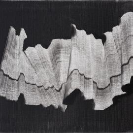 """מרים כבסה, עבודה מס. 3, צבעי שמן על אלומיניום, 75x150 ס""""מ, 2018. צילום: יובל חי"""