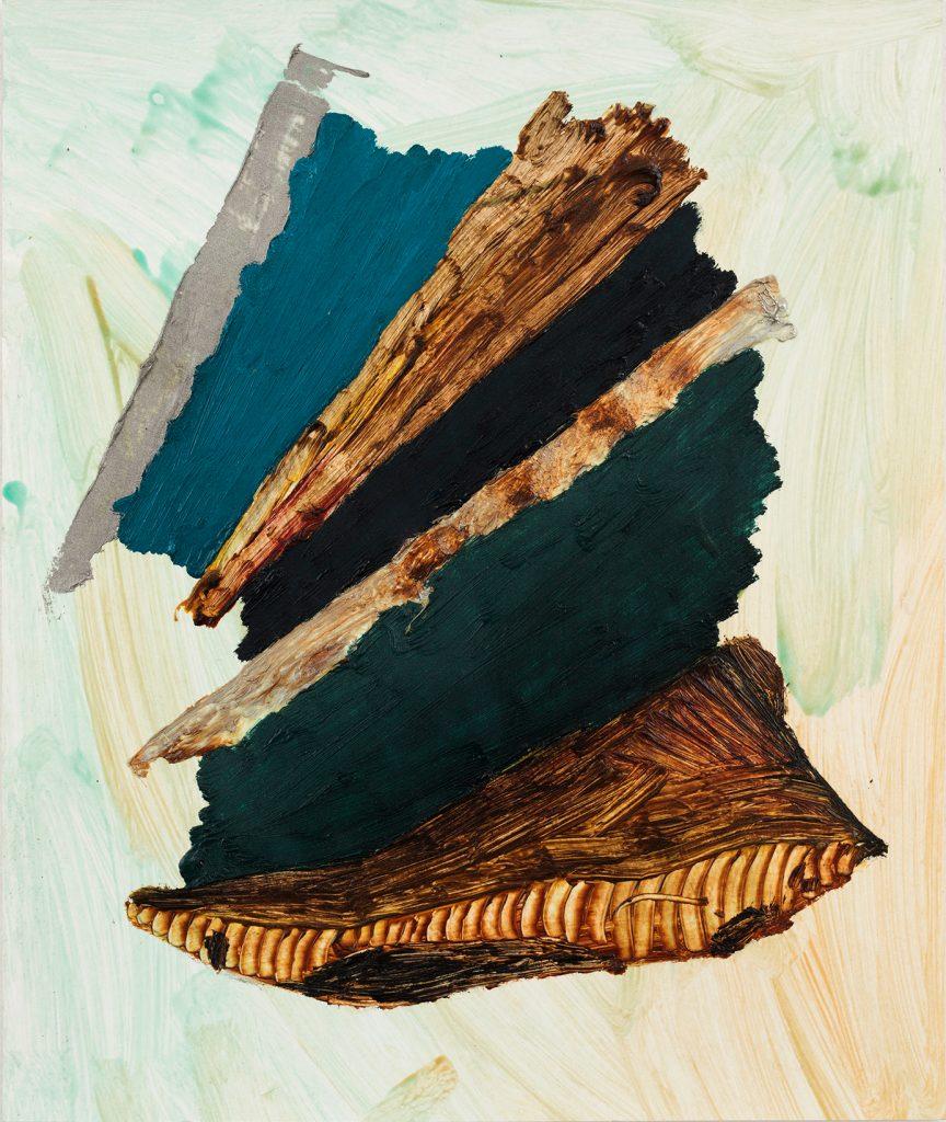 """טל ירושלמי, """"ערימה (ירוק)"""", אקריליק ושמן על נייר, 35x45 ס""""מ, 2017 (צילום: אלעד שריג)"""