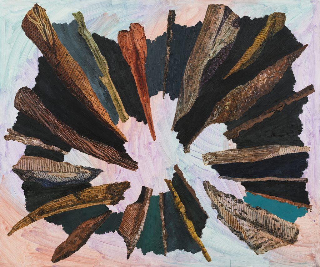"""טל ירושלמי, """"עשרים ואחת אבנים ומקלות"""", אקריליק ושמן על בד, 100x120 ס""""מ, 2017 (צילום: אלעד שריג)"""