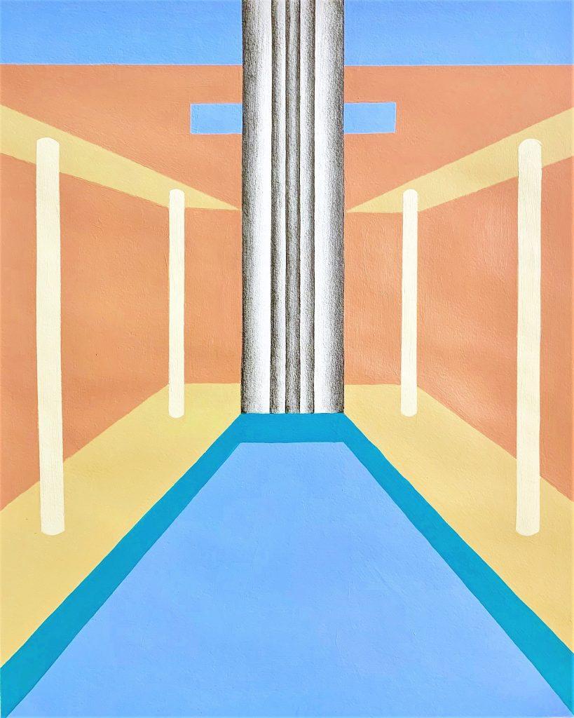 """ליאת קליין, """"מכון השחייה"""", אקריליק ועיפרון על נייר, 50x40 ס""""מ, 2019"""