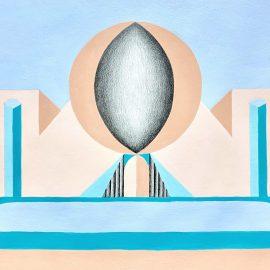 """ליאת קליין, """"מקדש הספק"""", אקריליק ועיפרון על נייר, 40x50 ס""""מ, 2019"""