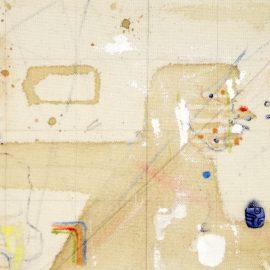 """רועי מרדכי, """"טריגר פוינט 3"""", 38x30 ס""""מ, צבעי מים, דיו, אקריליק ושמן על בד, 2018"""