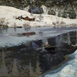 """פריץ טאולוב, """"חורף בנהר סימואה"""", צבעי פסטל על קנבס, 78.5X49.5 ס""""מ, 1883"""