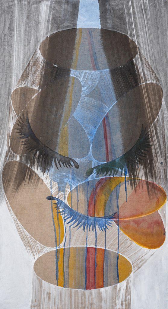 """אסתר שניידר, """"מפל"""", דיו פיגמנט לבן וצבעי מים על בד, 100x185 ס״מ, 2019"""