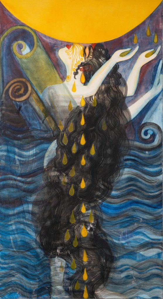 """אסתר שניידר, """"יונקת דבש"""" (פרט), דיו וצבעי מים על בד, 100x185 ס״מ, 2019"""