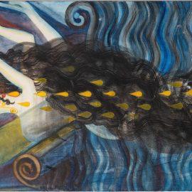 """אסתר שניידר, """"יונקת דבש"""", דיו וצבעי מים על בד, 2019"""