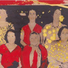 אלהם רוקני, האחיות חלילי מס' 20x30 ,18 ס״מ, טכניקה מעורבת על נייר, 2013