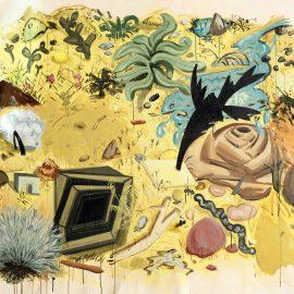 """רותם מנור, שלולית וצמחיית המדבר, אקריליק על בד, 200x160 ס""""מ, 2016 (צילום: יובל חי)"""