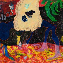 """שי יחזקאלי, """"קטיף הפרחים"""", שמן ואקריליק על נייר, 217X150 ס""""מ, 2014"""