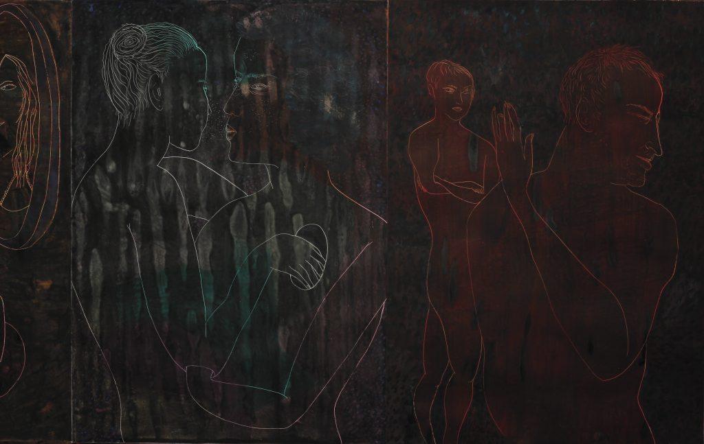 """מרב קמל וחליל בלבין, """"מעלל"""" (פרט), 2016 , פנדה, גואש ודיו על נייר 110X80 ס""""מ"""