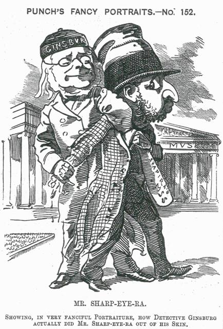 """מוזס שפירא """"נלכד"""" בידי כריסטיאן דוד גינצבורג, קריקטורה מתוך המגזין הבריטי פאנץ', ספטמבר 1883"""