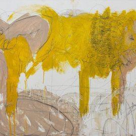 """דני אבידן, """"שיעורי אֵבֶל מס.3"""", שמן ועיפרון על עץ, 73X93 ס""""מ , 2021"""
